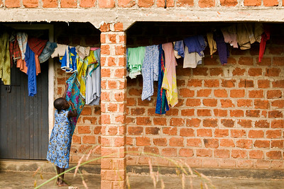 drying laundry in the village