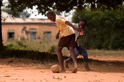 playing football in soroti