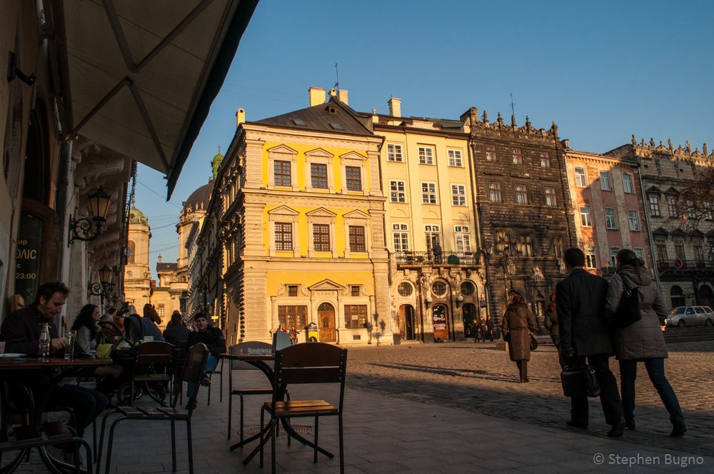 street scenes from Lviv, Ukraine.