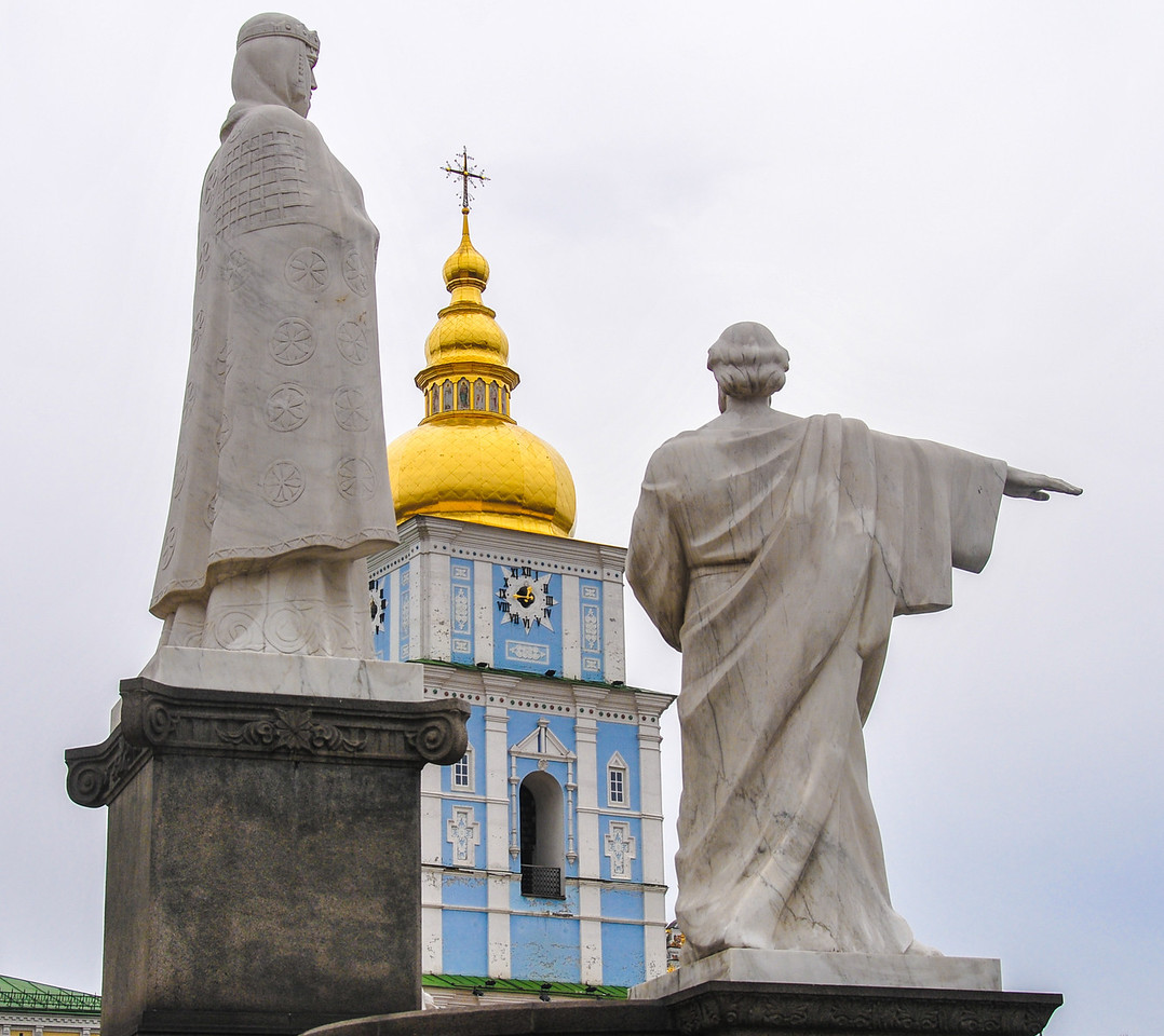 Monument to Princess Olga, St. Andrew the First-Called Apostle and Cyril and Methodius on Mikhaylovskaya Square in Kiev Ukraine.