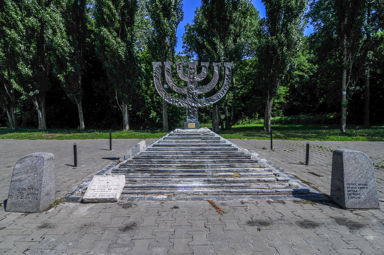 Babi Yar Menorah Monument. Babi Yar is a ravine in the Ukrainian capital Kiev and a site of a series of massacres carried out by the Nazis during their campaign against the Soviet Union.