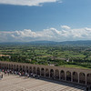 Unbrian countryside viewed from the Basilica of Saint Francis of Assisi, 16 May 2016.