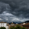 Storm clouds approaching Foligno as viewed from Hotel Italia.<br /> Late afternoon on May 15, 2016.