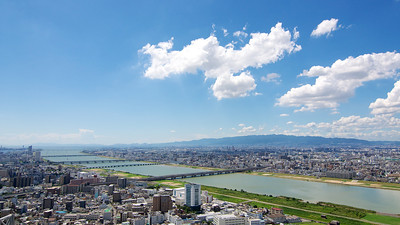 View over Osaka from the top of Umeda Sky Building.