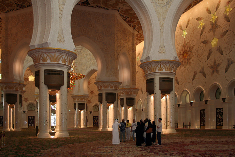 Sheikh Zayed Grand Mosque: interior view. The carpet is 5 square kilometres in extent - the world's largest single floor covering - and took 1200 Iranian weavers 2 years to complete