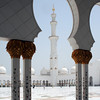 Sheikh Zayed Grand Mosque: minaret and colonnade.