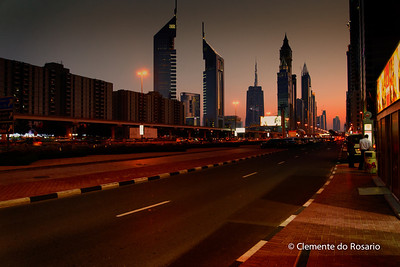 Sheik Zayed Road at sunset, Dubai, UAE
