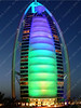 UAE - Dubai - Jumeira - Burj al-Arab - night - causeway - green an
