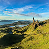 Early morning panorama over The Storr towards Portree