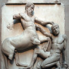 The British Museum, Parthenon Marbles Gallery: Battle of a Lapith and Centaur (Centauromachy), from the Temple of Athena Parthenos.