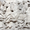 The British Museum, Parthenon Marbles Gallery: processional frieze from the Temple of Athena Parthenos.