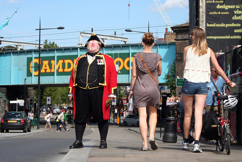 Camden Town: streetscape with town crier.