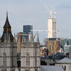 London skyline with Westminster Abbey, Big Ben, the Gherkin and assorted construction projects. View from the bell tower of Westminster Cathedral.