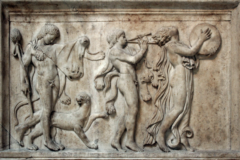 British Museum: frieze of a Maenad and Bacchanalian celebrants.