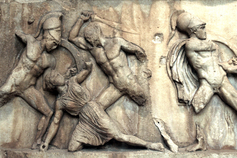 British Museum: frieze from the tomb of Mausolos at Halicarnassus.