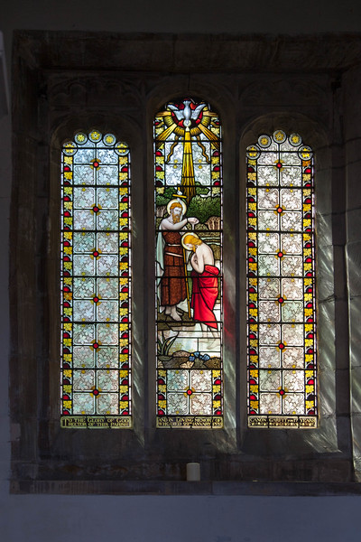 Stained glass at the front of the sanctuary.