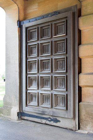 Massive wooden doors.
