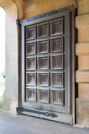 Massive wooden doors.