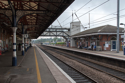Grantham train station. Waiting to leave for London.