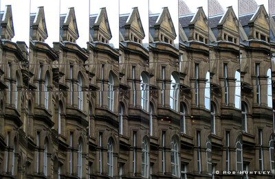 Detailed window reflections at The Bourse, Boar Lane, Leeds, UK. © Rob Huntley