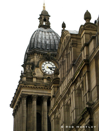 Leeds Town Hall Clock Tower, Leeds, England. White background. © Rob Huntley