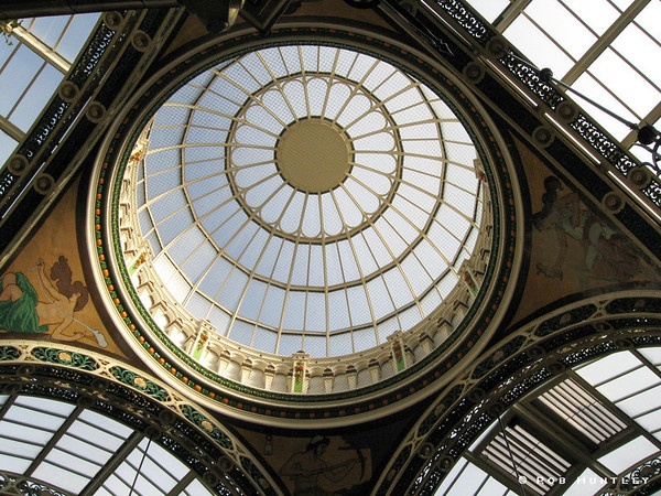 Dome skylight in the County Arcade in the Victoria quarter of Leeds, Yorkshire, England. © Rob Huntley