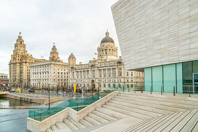 The Liver Building, Cunard Building, Port of Liverpool building and the Liverpool Museum on the Liverpool Waterfront. December 2018