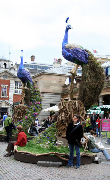 Me in front of Covent Garden market and the floral peacock sculptures.