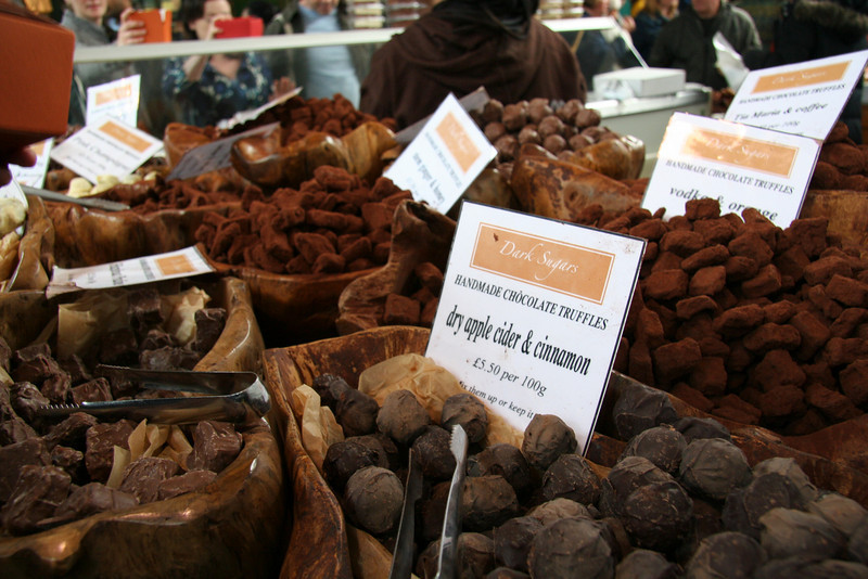 Chocolate truffles at Borough Market.