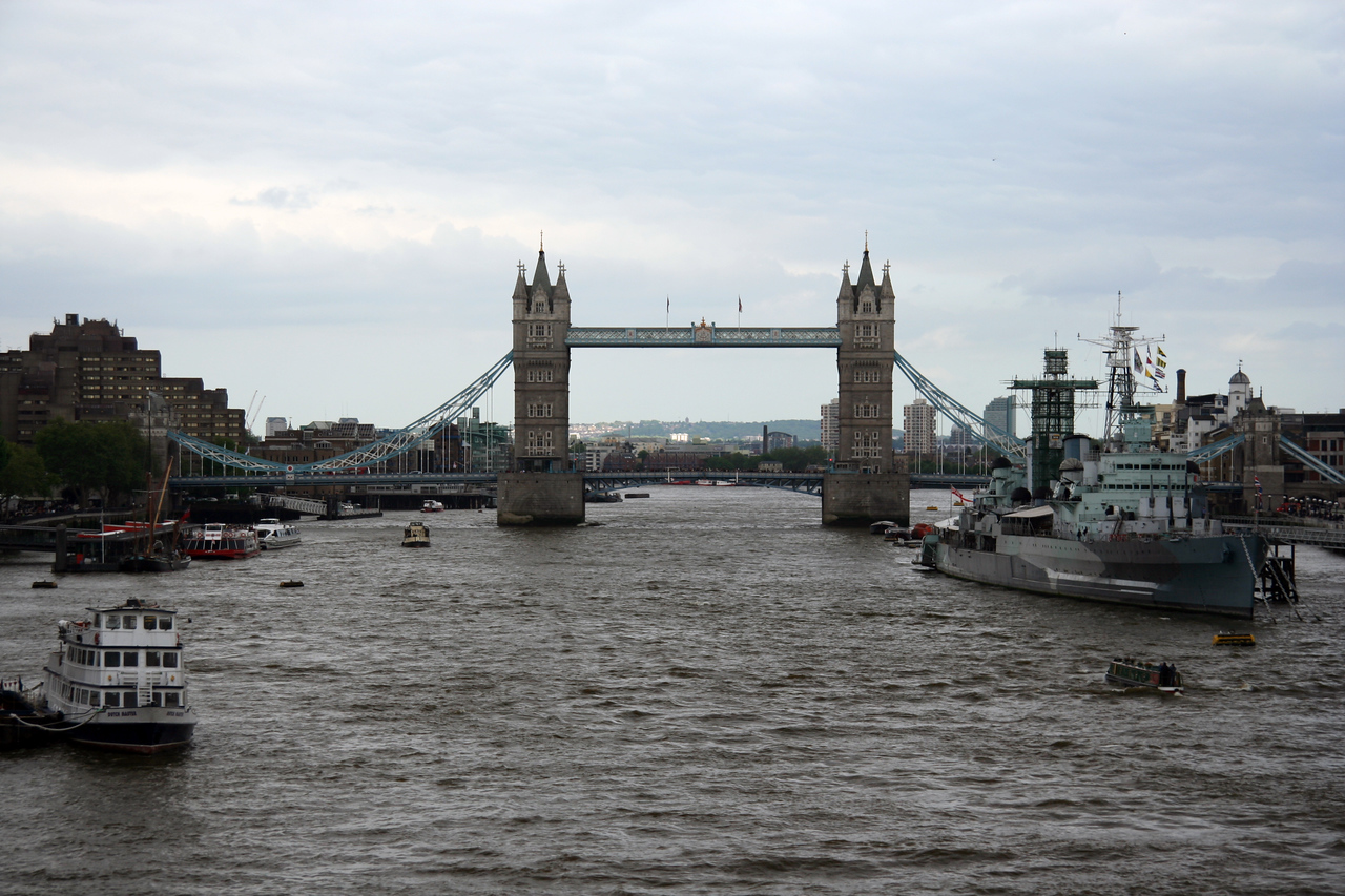The Tower Bridge (not London Bridge, which is a different bridge), close to the Tower of London.