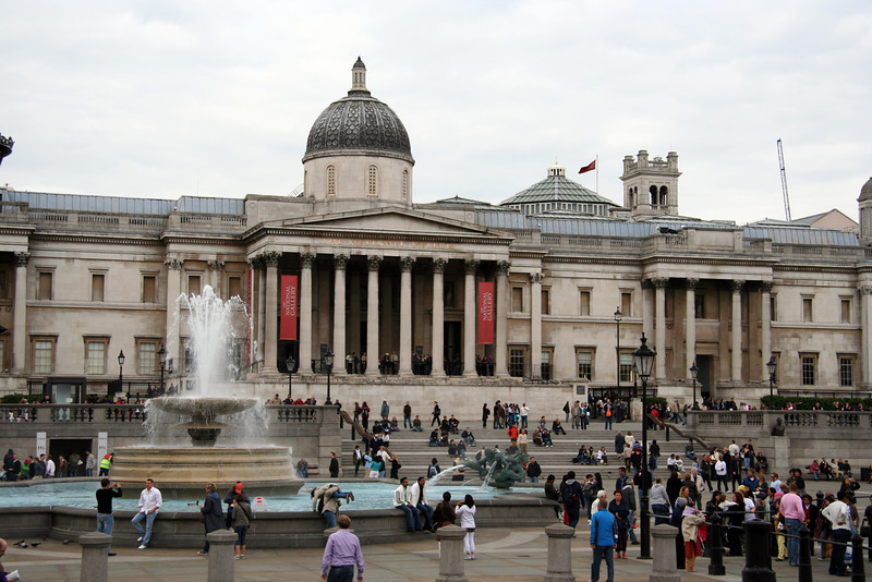 The National Gallery and Trafalgar Square.