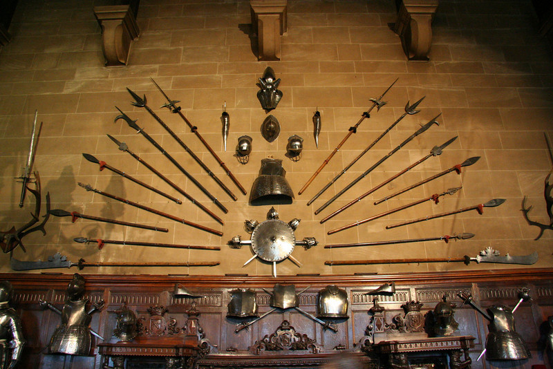 Weapons display in the Great Hall.