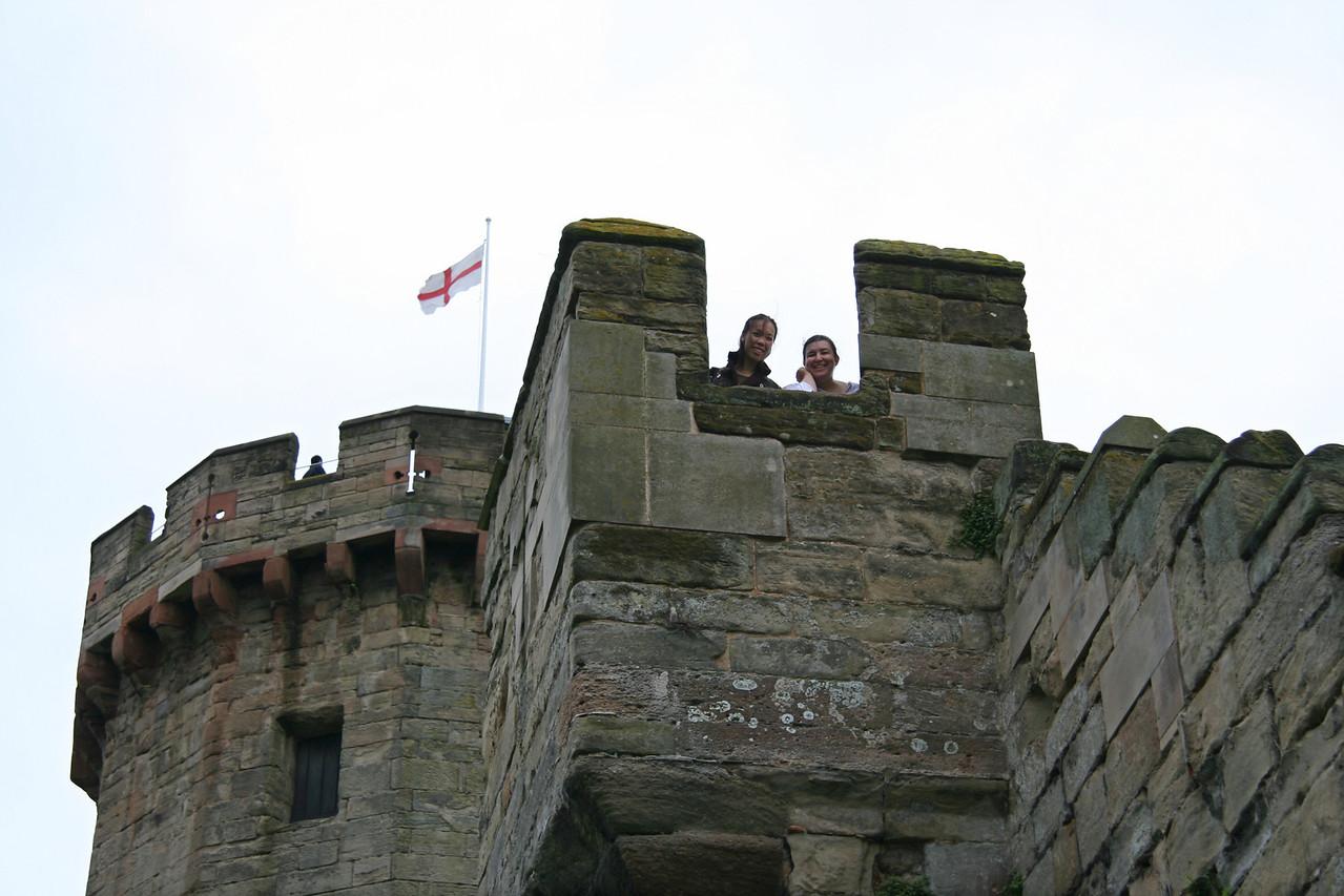 AJ and Judy way up high at Warwick Castle.