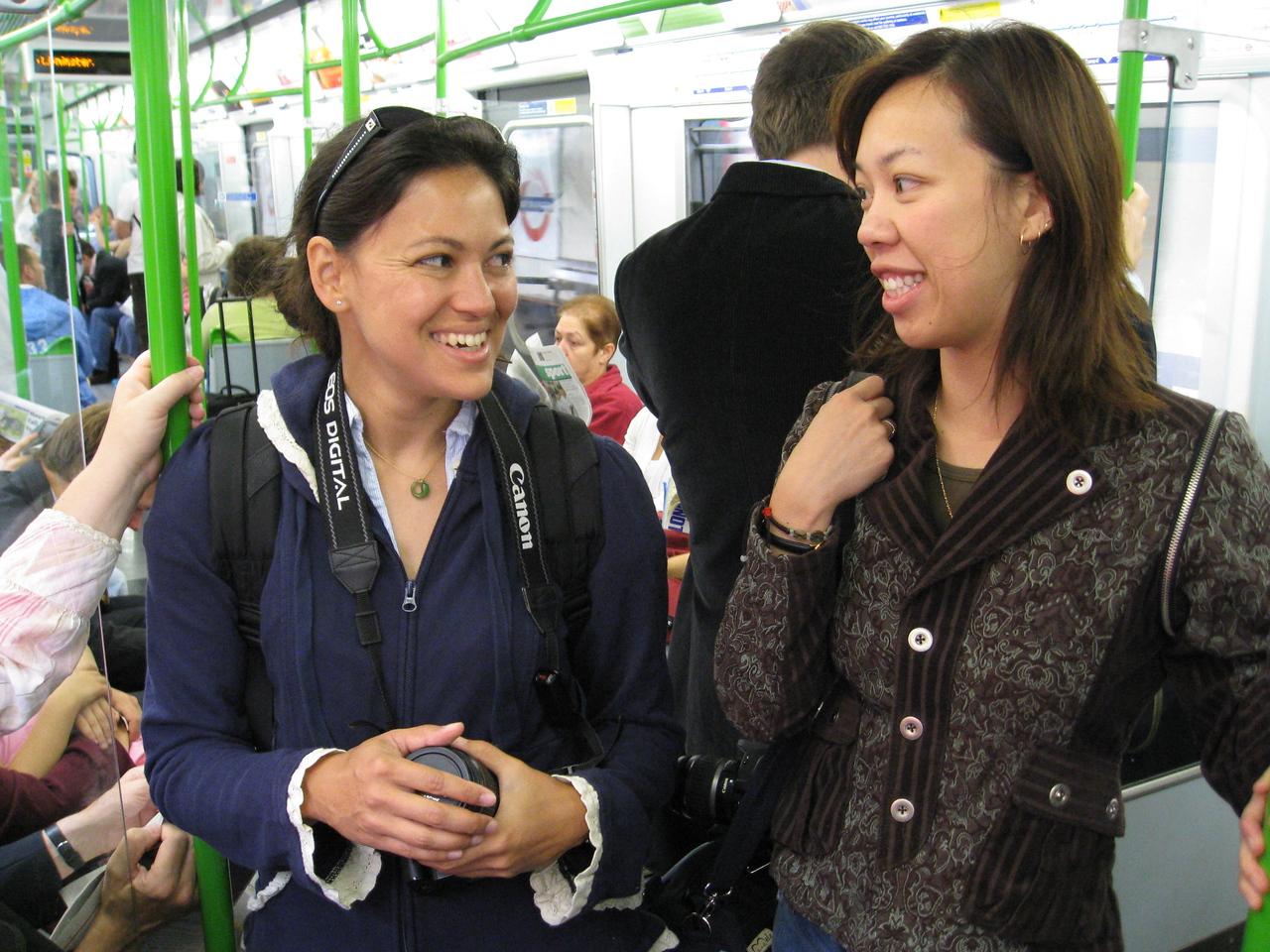 Jess and AJ, riding the tube.