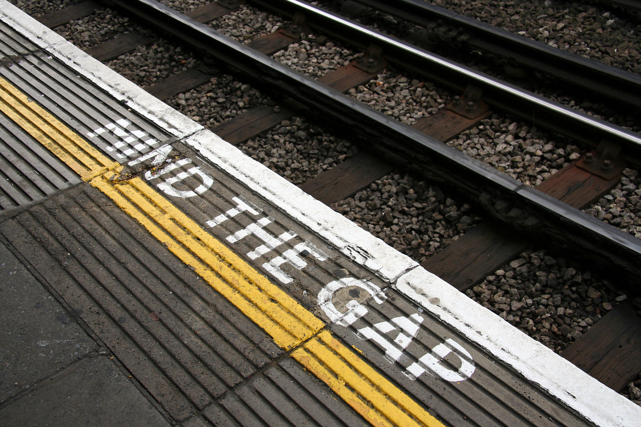 At High Street Kensington tube stop. In case you were wondering, the gap varies depending on the station.