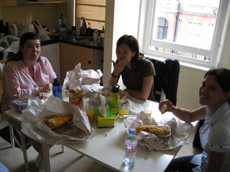 Fish and chips at Daanish's old flat. Nice and greasy.