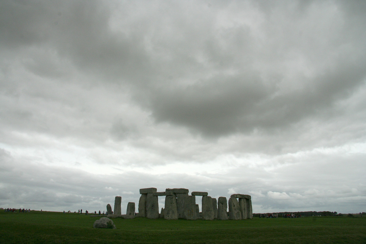 Stonehenge under a typical English sky.