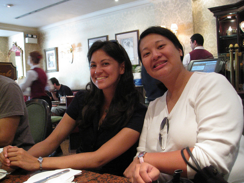 Jess and Nancy, afternoon tea at Richoux.