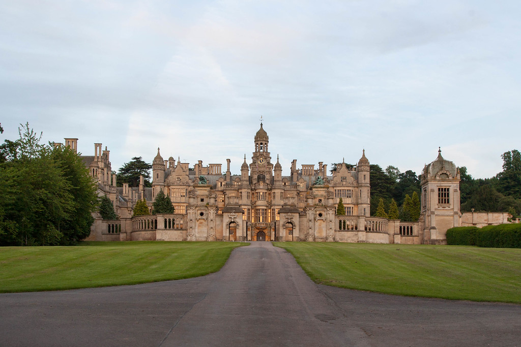 Harlaxton Manor at sunset on the eve of the Summer Solstice.
