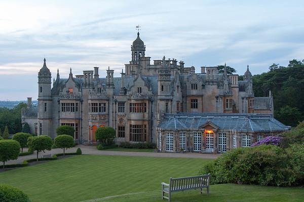 Southwest side of the manor at sundown.