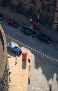 Downtown street scene in Sheffield, Yorkshire, England. View from overhead. © Rob Huntley