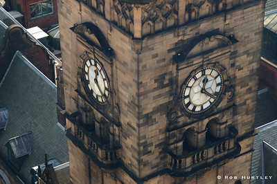 The Clock Tower of the Sheffield Town Hall in downtown Sheffield, Yorkshire, England.