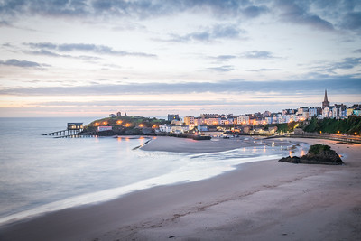 Tenby North Beach at Sunset.