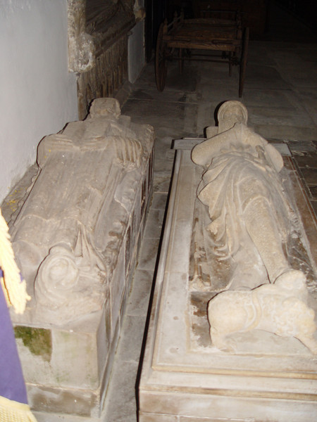 Sir Guy & Sir Goband. <br /> The Crossed Legged Knight, This and the mutilated tomb are thought to be Sir Guy and Sir Goband lords of the Manor. Crossed legs indicate a Crusader, he may have built part of the church as a thank offering for his safe return. Early 14th centry.