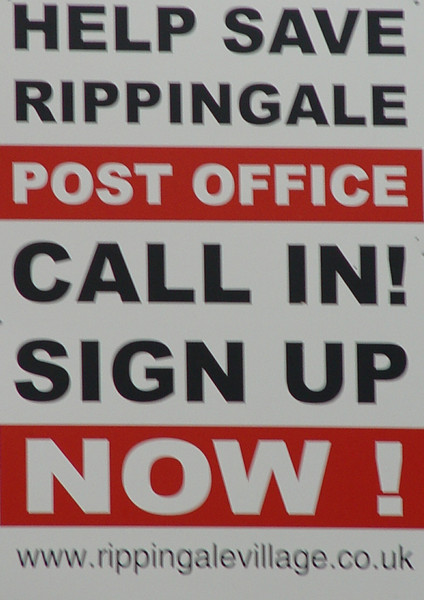 October 2007 and many Post Offices in England are under threat of closure! Rippingale's post office is only one of many hundreds under threat.