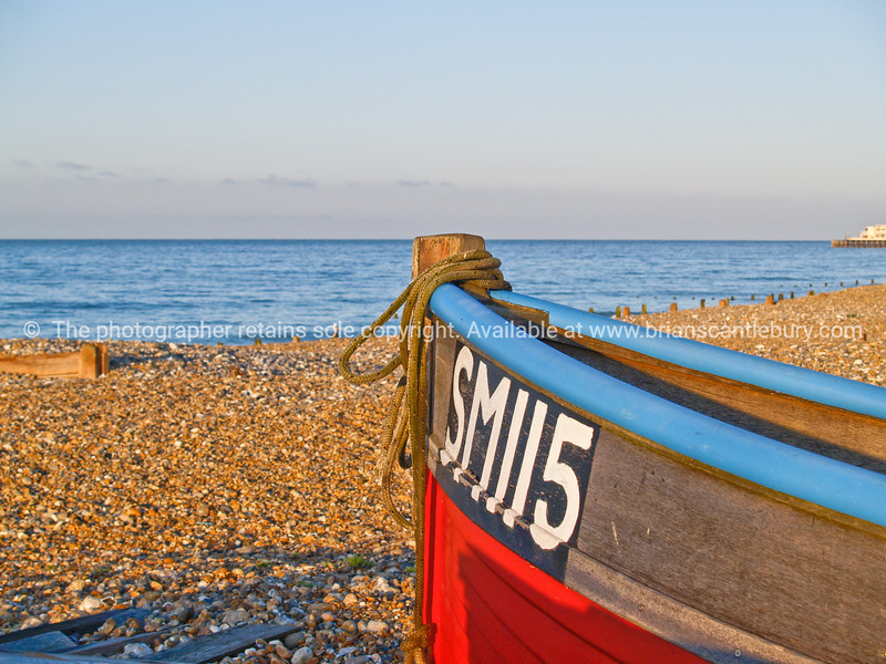 """Fisning boat bow in foreground of beach scene, England SEE ALSO:   <a href=""""http://www.blurb.com/b/893070-impressions-of-the-uk"""">http://www.blurb.com/b/893070-impressions-of-the-uk</a>"""