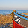 "Fisning boat bow in foreground of beach scene, England SEE ALSO:   <a href=""http://www.blurb.com/b/893070-impressions-of-the-uk"">http://www.blurb.com/b/893070-impressions-of-the-uk</a>"