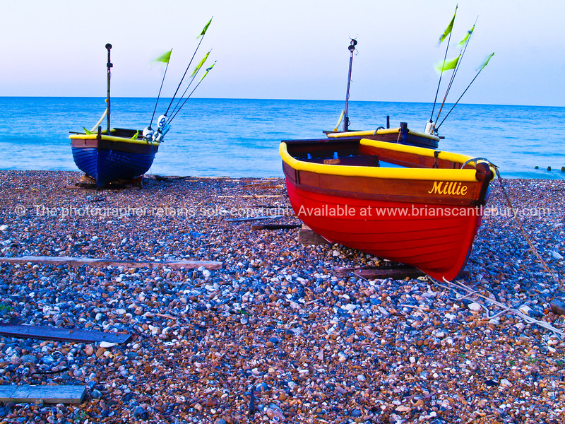 """Two traditional fishing boats, Worthing, England, Britain, United Kingdom. SEE ALSO:   <a href=""""http://www.blurb.com/b/893070-impressions-of-the-uk"""">http://www.blurb.com/b/893070-impressions-of-the-uk</a>"""