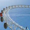 Ferris wheel closeup.