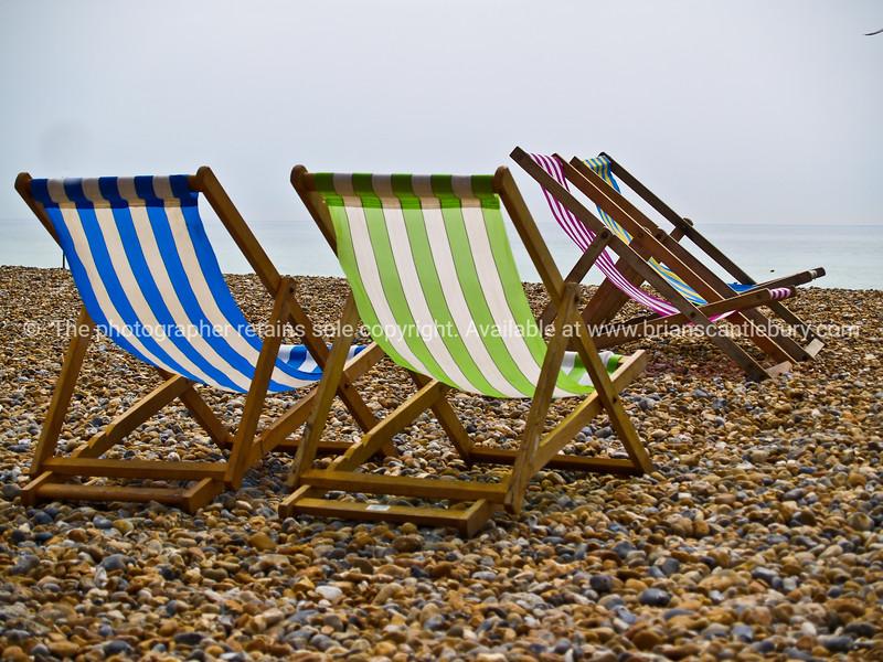 "Deckchairs on beach, Brighton, England, Britain, United Kingdom. SEE ALSO:   <a href=""http://www.blurb.com/b/893070-impressions-of-the-uk"">http://www.blurb.com/b/893070-impressions-of-the-uk</a>"